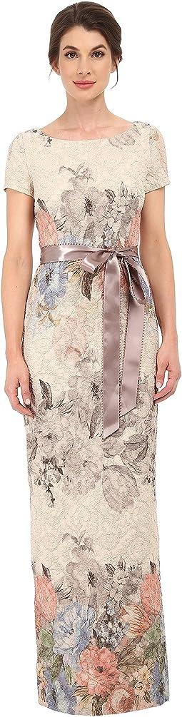 Matelasse Printed Floral Column Gown w/ Picot Edge Ribbon
