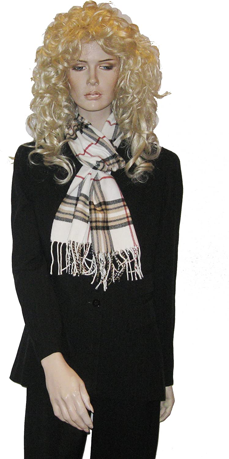 Cashmere Feel Unisex Pashmina Scarf in Checks and Plaid (IVORY)