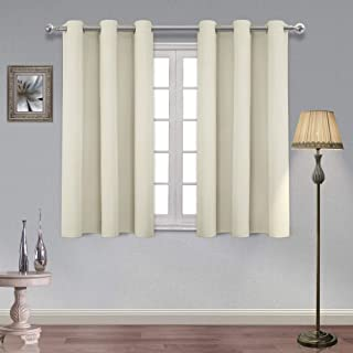 Homedocr Thermal Insulated Blackout Curtains for Bedroom Grommet Noise Reduction and Energy Efficient Living Room Curtains, 42 x 45 Inches Length, Beige, 2 Drape Panels
