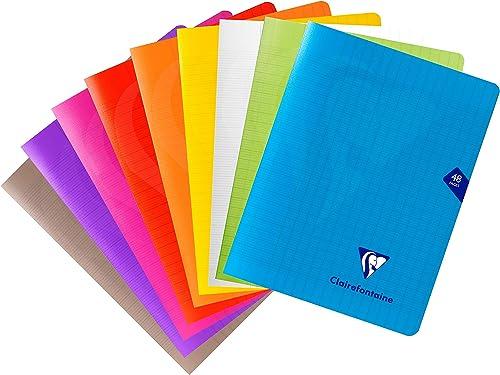 Clairefontaine 293751AMZC - Un lot de 9 cahiers piqués Mimesys 48 pages 17x22 cm 90g grands carreaux, couvertures pol...