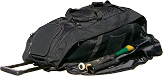 Catchers Bag in Solid Black Cobra XL III Three Wheels Softball Baseball Bat Equipment Roller Bag