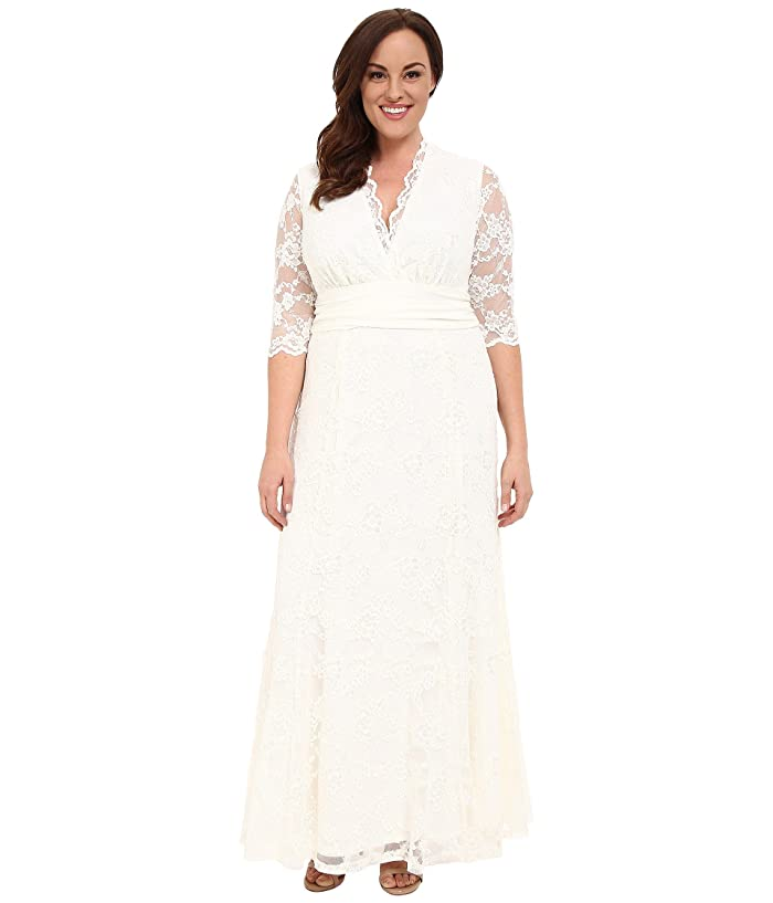 1940s Style Wedding Dresses | Classic Wedding Dresses Kiyonna Amour Lace Wedding Gown Ivory Womens Dress $288.00 AT vintagedancer.com