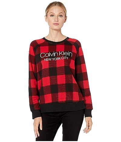Calvin Klein Underwear Modern Cotton Lounge Buffalo Check Long Sleeve Sweatshirt (Buffalo Check/Temper) Women