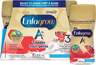 Enfagrow A+, Toddler Nutritional Drink, Ready To Drink Bottles, 26 Nutrients, Milk Flavour, with Brain Building DHA a type...