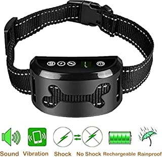 Rock&Dog [New Version] No Shock Barking Collar Rechargeable Anti-Bark Control Collar with Beep/Vibration/Shock Training Mode, Free E-book 90 Tips and Techniques for Training Man's Best Friend