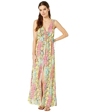 Luli Fama Smoke Show V-Neck Long Dress Cover-Up (Multicolor) Women