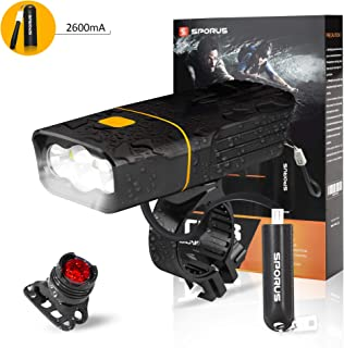 SPORUS Bike Light Set, Rechargeable Bike Light, Headlight & Tail Light with Quick Release, Powerful Lumens for Road Cycling Safety[2600mA Portable Power Bank Included]