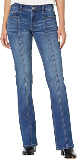 Mid-Rise Bootcut with Clean Pocket and Front Seam Detail in Medium Wash W1-6158