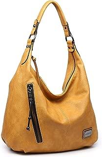 AIENJIU Women Vintage PU Leather Large Handbag Bucket Shoulder Bag Tote Purse