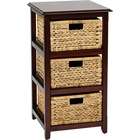 Osp Home Furnishings Seabrook 3 Tier Storage Unit With Natural Baskets Espresso Furniture Decor