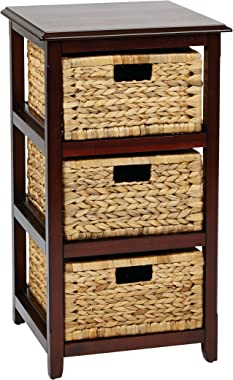 OSP Designs Office Star Seabrook 3-Tier Storage Unit with Natural Baskets, Espresso
