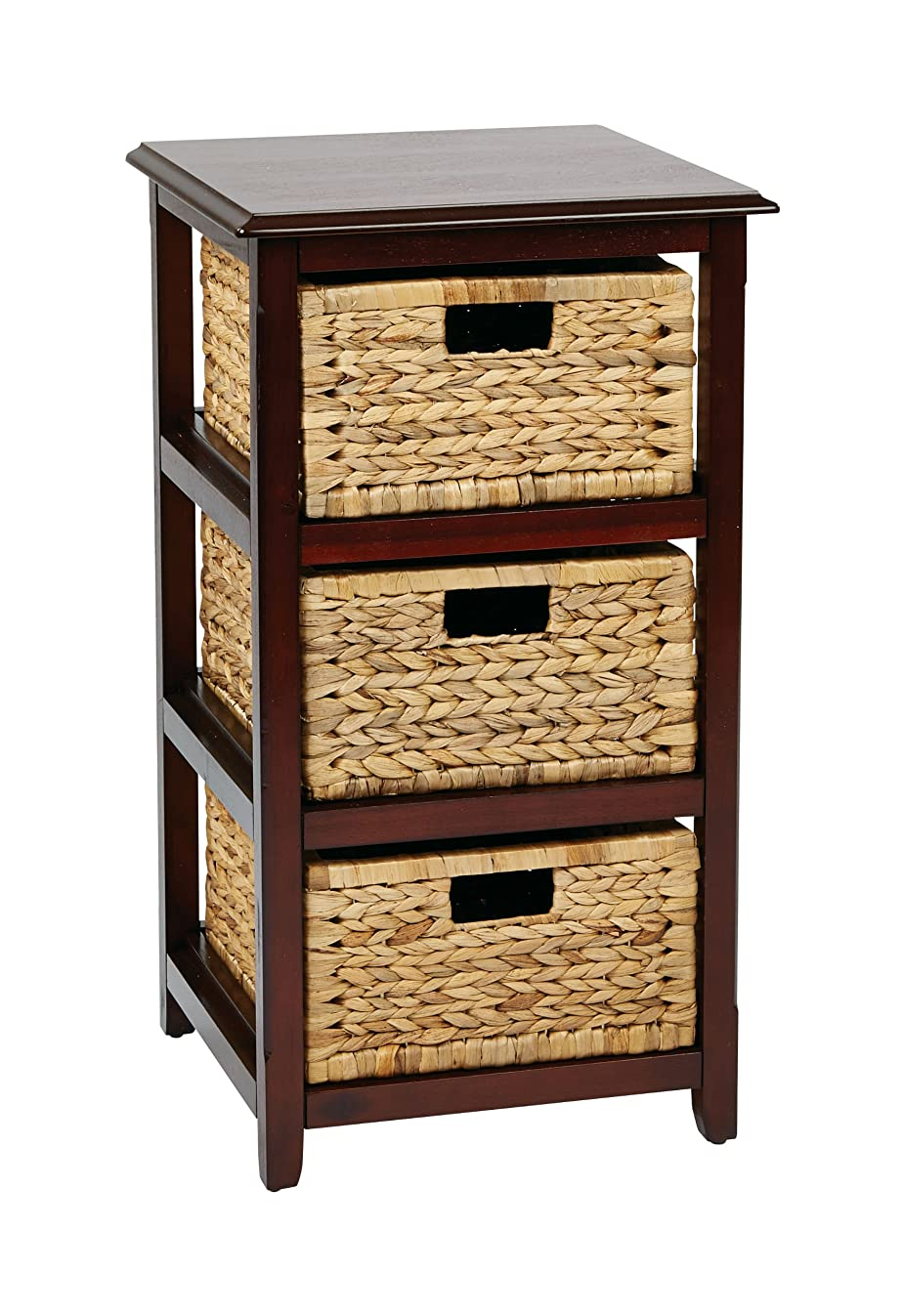 OSP Designs SBK4513A-ES Office Star Seabrook 3-Tier Storage Unit with Natural Baskets, Espresso