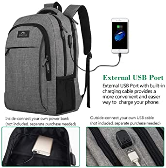 Matein Travel Laptop Backpack, Business Anti Theft Slim Durable Laptops Backpack with USB Charging Port, Water Resist...