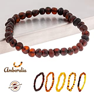 Connene Elastic Baltic Amber Bracelet Adult, Unisex, Carpal Tunnel Natural Remedy GIA Certificated