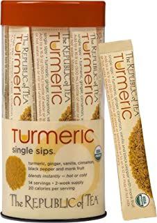 The Republic of Tea Organic Turmeric Single Sips, Instant Turmeric Herbal Tea (14 Single-Serve Packets)