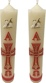 Credo 2pack Catholic Paschal Candles for Easter, Baptism, Communion or Any Prayer | Cirios Pascuales Con Alpha, Omega, La Cruz y El Cordero| Religious Candles with The Red Alpha Omega Cross and Lamb