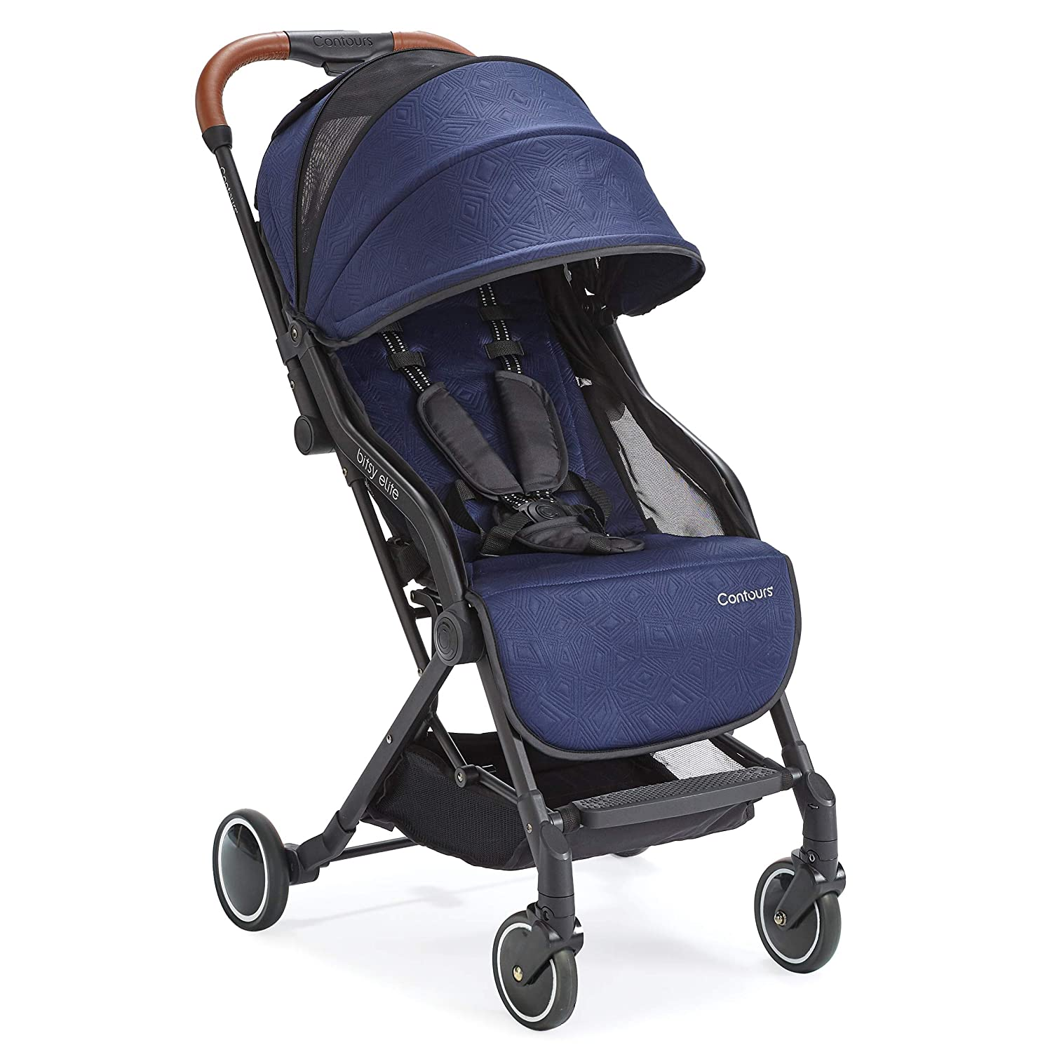 Contours Bitsy Elite Compact Fold Lightweight Stroller for Travel, Airplane Friendly, Adapter Free Car Seat Compatibility, Sapphire Blue