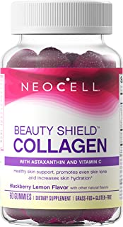 NeoCell Beauty Shield Grass Fed Collagen Gummies with Astaxanthin, Amla Fruit Extract and Vitamin C, BlackBerry Lemon Flav...