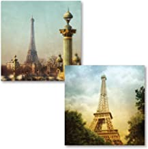 Gango Home Decor Stunning Photograph Prints of The Eiffel Tower Paris France by Amy Melious; Two 12x12in Poster Print