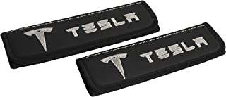 Car Seat Belt Pads Covers Shoulder for Adults Black Seatbelt Cover pad with Embroidered Silver Emblem Interior Accessories Compatible for Tesla Model X Model S Model 3 Great idea for a Gift 2pcs