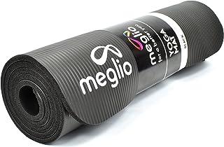 Meglio Esterilla de Yoga Antideslizante - Esterilla en NBR 12mm de Grosor - para Todo Tipo de Ejercicio, Fitness, Yoga, Pilates, Rutinas de Ejercicios - Incluye Arnés de Transporte