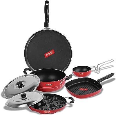 SUMEET Aluminium 2.6mm Thick Non-Stick Jolet Cookware Set (Red, Dosa Tawa 26.5cm Dia Kadhai with Lid 1.5Ltr Capacity Grill Appam Patra with Lid 23cm Dia, Grill Pan 1.1Ltr Tadka Pan 10cm Dia)