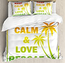 Bedding 4 Piece Rasta Duvet Cover Set Keep Calm and Love Reggae Quote in Ombre Rainbow Colors Music Themed Bedding Sets 1 Flat Sheet 1 Duvet Cover and 2 Pillow Cases Light Green Red and Yellow, King