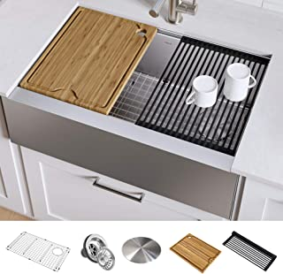 KRAUS KWF410-33 Kore Workstation 33-inch Farmhouse Flat Apron Front 16 Gauge Single Bowl Stainless Steel Kitchen Sink with Integrated Ledge and Accessories (Pack of 5)