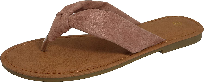 Cambridge Select Women's Soft Knot Thong Flip-Flop Flat Slide Slip-On Sandal