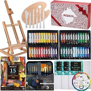 "MEEDEN 71-Piece Acrylic Painting Set with 25.5"" Beech Wood Table Easel, 48×22ML Acrylic Paint Set, Canvas Panels, Acrylic ..."
