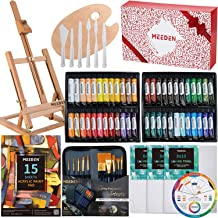 MEEDEN 71-Piece Acrylic Painting Set - Solid Beech Wood Table Easel, 48×22ML Acrylic Paint Set, Canvas Panels, Acrylic Pai...