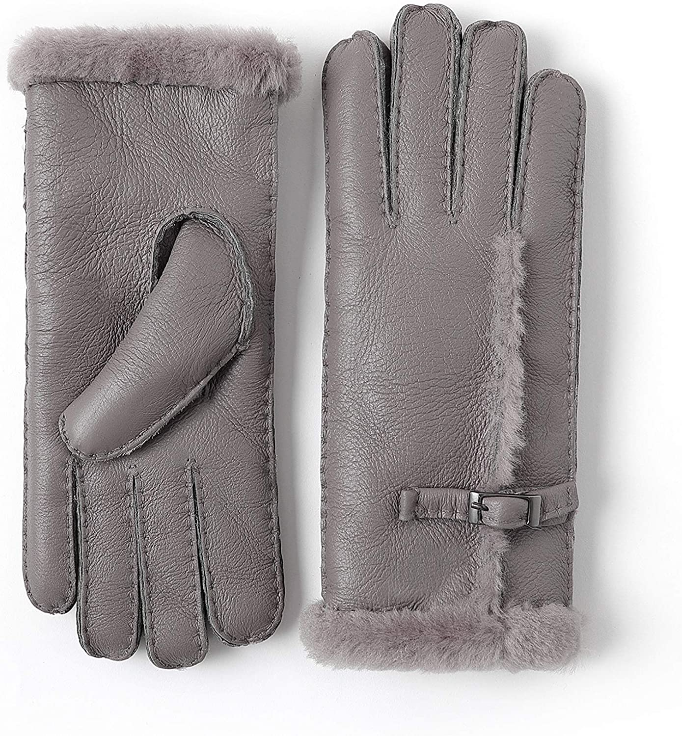 YISEVEN Womens Winter Sheepskin Shearling Leather Gloves Wool Lined Furry Cuffs Heated Sherpa Merino Thick Mittens Soft Warm Fur Lining for Cold Weather Driving Work Gifts, Gray Large