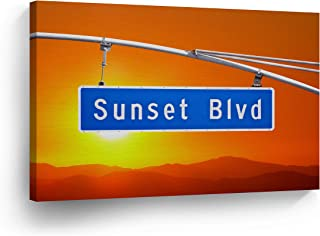 SmileArtDesign Los Angeles Wall Art Sunset Boulevard Sign with Sunset Canvas Print California Home Decor Artwork Gallery Wrapped Wood Stretched and Ready to Hang -%100 Handmade in The USA - 15x22