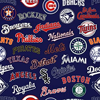 Fabric Traditions MLB Fleece All Team Fabric, Multicolor, Fabric By The Yard