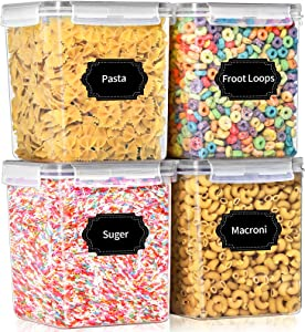 Large Airtight Food Storage Containers with Lids, PRAKI 4 Pieces 4.3L - BPA Free Plastic Kitchen Pantry Storage Containers Set for Cereal, Flour and Baking Supplies - 20 Labels & 1 Marker, Grey
