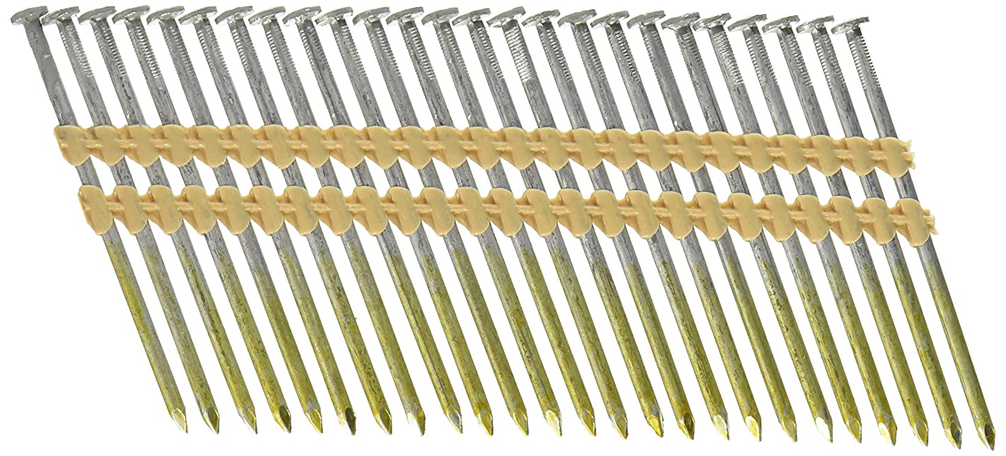 Hitachi 20163S 3-1/4-in X .131 Framing Nails, Full Round Head, Hot Dipped Galvanized, Plastic Strip Collation, For 21 Degree Framing Nailers, 1,000 Per Box