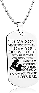 LITTONE Personalized Dog Tag to My Son Never Forget That I Love You Necklace from Dad Military Chains Pendant LNH9457#