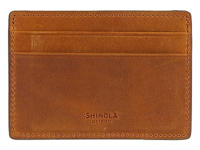 Shinola Detroit Navigator Six-Pocket Card Case (Honey) Wallet Handbags