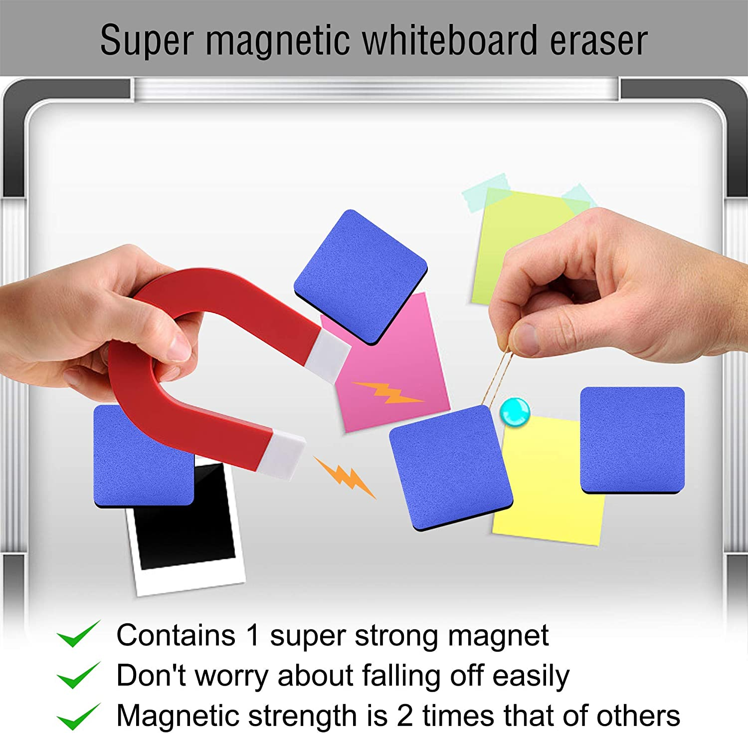 Mini Dry Erase Erasers Home and Office IHPUKIDI 24 Pack Magnetic Whiteboard Dry Erasers Chalkboard Cleaner Wiper for kids and Classroom Teacher Supplies