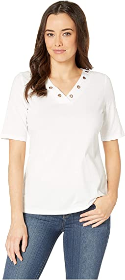 Solid Jersey V-Neck Top with Eyelet Detail
