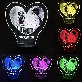 Lampada personalizzata con la tua foto su plexiglass fotoincisione su cuore