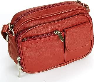 Womens Leather Adjustable Strap Multi Pocket Organizer Cross Body Purse