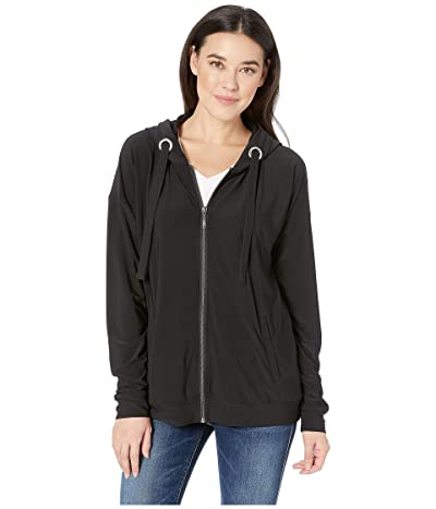 Tribal Pack and Go Travel Jersey Long Sleeve Hooded Cardigan (Black) Women