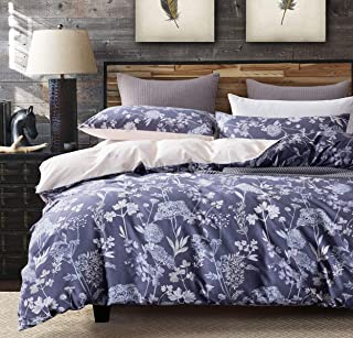 SLEEPBELLA Duvet Cover Set, 600 Thread Count Cotton Purple Floral Pattern Printed Comforter Cover Beige Reversible (Queen, Purple)