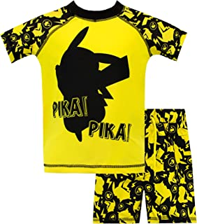 Pokemon Boys Pikachu Swim Set Yellow Size 12