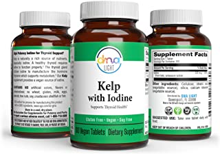 DNA Light Sea Kelp Iodine Supplement 225mg - 100 Tablets - Seaweed Extract for Thyroid Support, Weight Loss, Energy, Brain...
