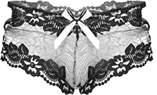 FEESHOW Men Low Rise Lace Briefs Bowknot Hollow Out Lingerie Strappy Boxers Underpants Nightwear