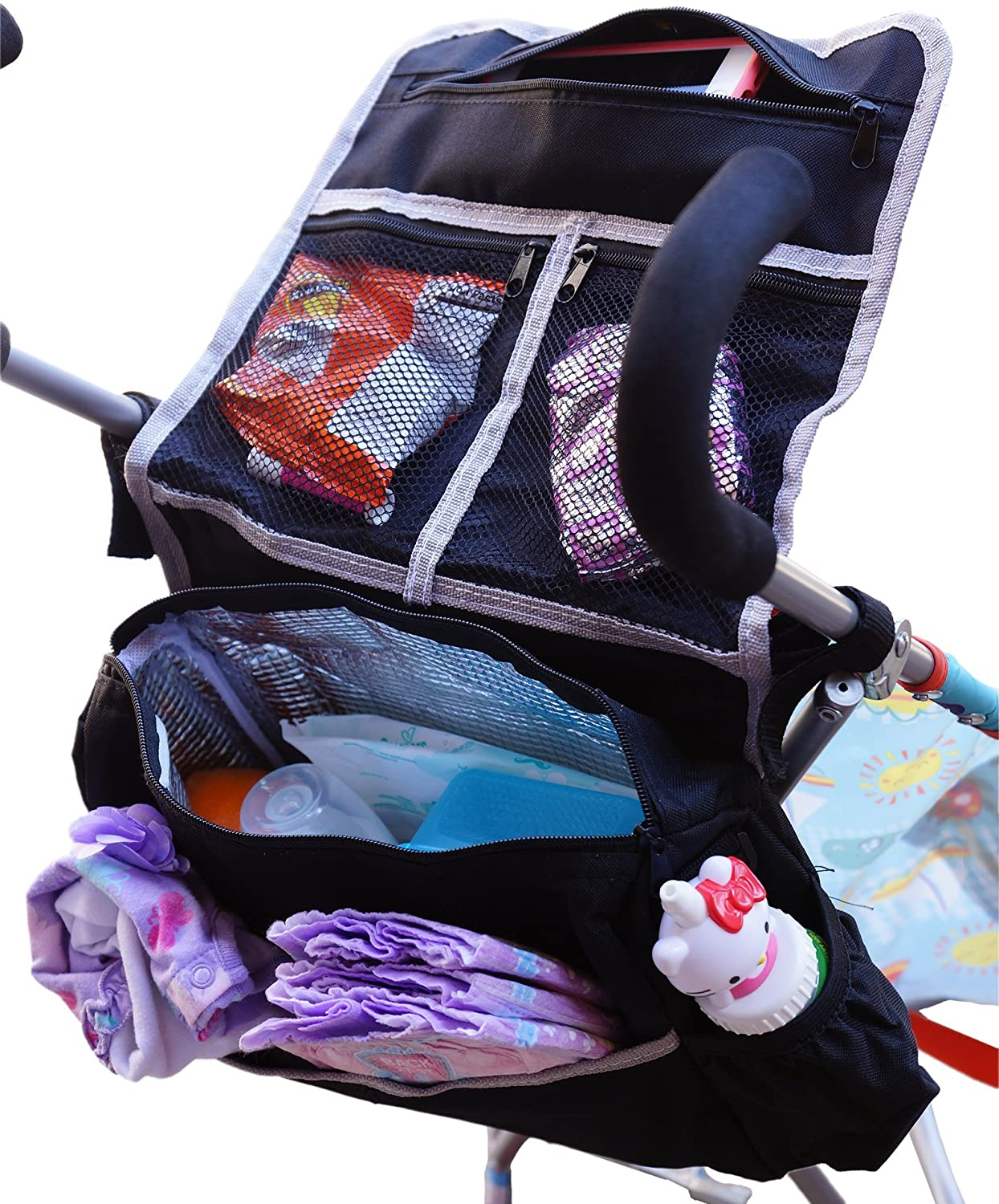 NONIKA 5-in-1 Child and Infant Insulated Stroller Bag & Backseat Car Storage Organizer (Black)