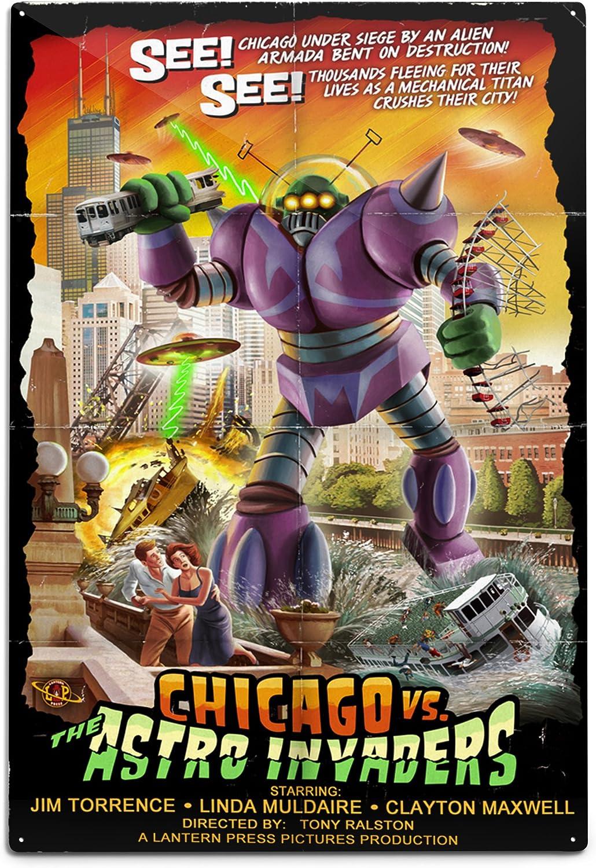 Lantern Press Chicago Versus Astro Wall 12x18 Ranking TOP4 Sale SALE% OFF Aluminum Invaders