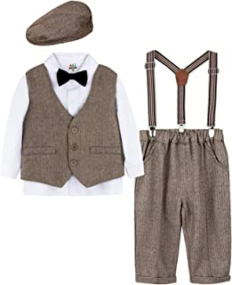 mintgreen Conjunto de Camisa Manga Larga para Bebé Niños con Chaleco+Pajarita+ Pantalones Tirantes+Boina,4 Piezas, Tamaño:...